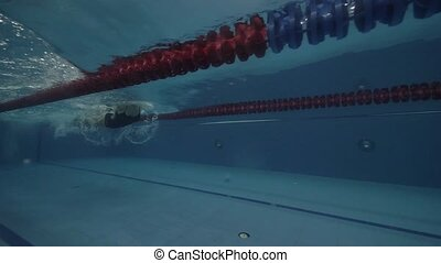 Young woman swimmer floating butterfly stroke in clear water...