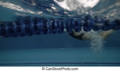 Young woman swimming butterfly style in transparent water...