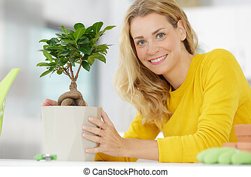 young woman taking care of bonsai tree