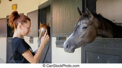 Young woman taking photo of a horse