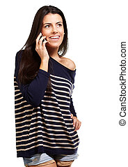 Young woman talking on mobile over white background