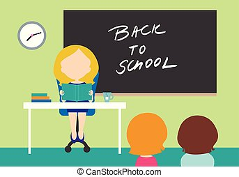Young woman - teacher sitting on chair behind table in school class with black board with inscription Back to school and with two students - flat design