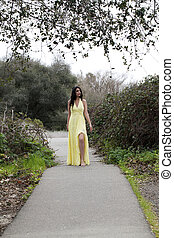 Young Woman Teen Standing on Path Yellow Dress