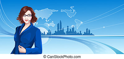 Young Woman Telephone Operator and City Background