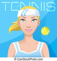 Young woman tennis player avatar. Sport active lifestyle