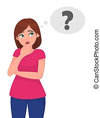Young woman thinking and looking up to thought bubble in question mark (?) symbol. Idea and creative concept. Vector illustration in cartoon style.