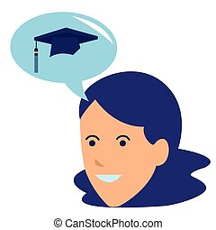 young woman thinking graduation