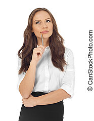 Young woman thinking, white background