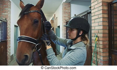 Young woman tightening bridle on horse. Young female rider...