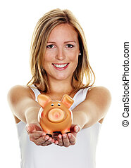 young woman, to save money - A young woman saves money and ...