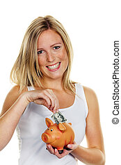 young woman, to save money. Dollar Bill - A young woman ...