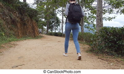 Young woman tourist with backpack walking at trail in mountains with beautiful nature landscape at background. Female hiker going along tropical mount road. Healthy active lifestyle. Rear back view