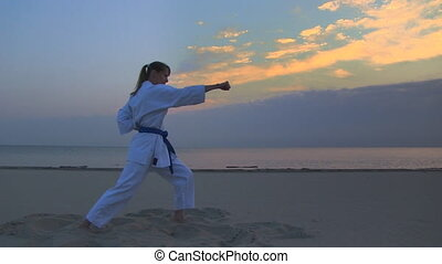karate on sunset beach