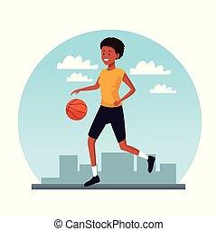Young woman trainning basketball