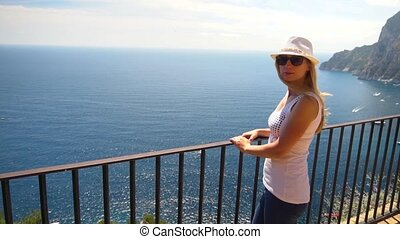 Young woman traveling in Capri island at Italy