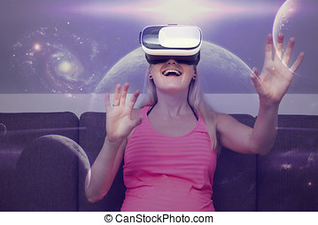 young woman traveling in space using virtual reality glasses