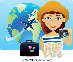 Young woman travelling around the world with a map and a...