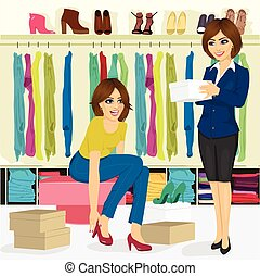 young woman trying on different shoes with help of shoe store assistant