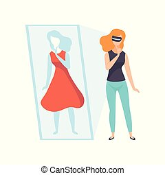 Young woman trying on red dress wearing virtual reality digital glasses, girl using optical device for real visualisation and simulation vector Illustration on a white background