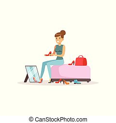 Young woman trying on shoes, girl shopping in a mall colorful vector illustration