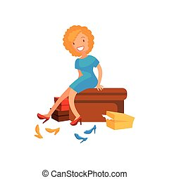 Young woman trying on shoes, girl shopping in a mall cartoon vector illustration