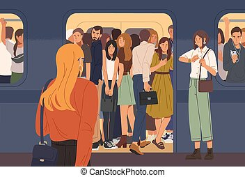 Young woman trying to enter subway train car full of people. Overcrowded underground or metro. Problem of city overpopulation and urban transportation. Flat cartoon colorful vector illustration.