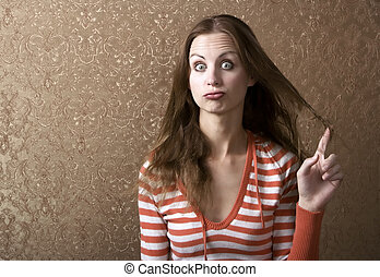 Young Woman Twirling Her Hair