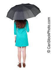 young woman under an umbrella.