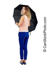 young woman under an umbrella