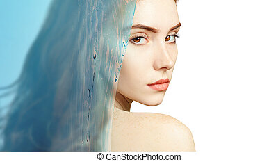 Young woman under water splash with fresh skin.