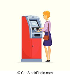 Young woman using ATM - cartoon people characters...