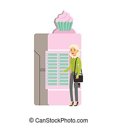 Young woman using ice cream automatic vending machine vector Illustration