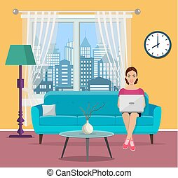 young woman using laptop at living room. - Happy young woman...