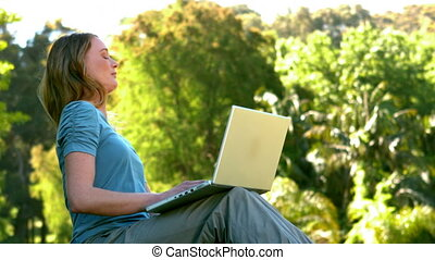 Young woman using laptop in the par