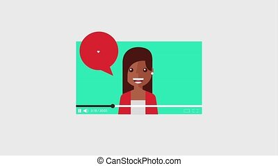 young woman video chat speech bubble with heart love...