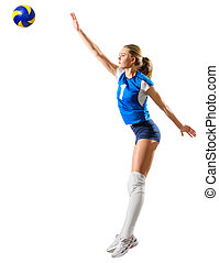 Young woman volleyball player isolated (ver with ball) -...