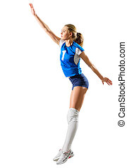 Young woman volleyball player isolated (ver without ball) -...