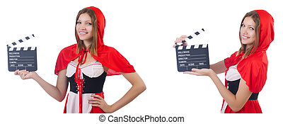 Young woman waiter with movie board isolated on white