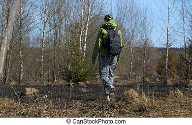 Young woman walking in coppice - Rear view of young woman ...