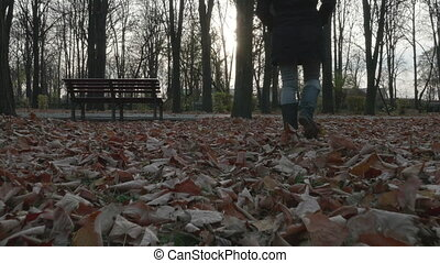 Young woman walking in the park