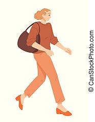 Young woman walking vector illustration