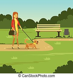Young woman walking with her dog in the park, flat vector illustration