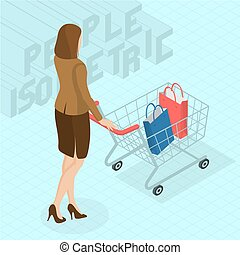 woman walking with shopping cart.