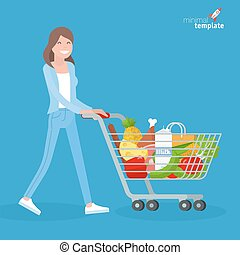 Young woman walking with shopping cart.