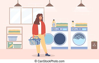 Young woman washes clothes in the Laundry room