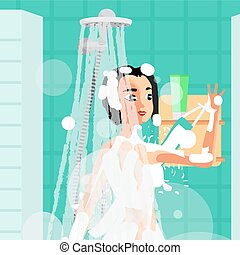 Young woman washing herself with a sponge in the shower. Girl under the stream of water to clean with wisp. Vector flat cartoon illustration
