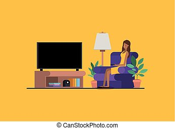 young woman watching tv on the livingroom