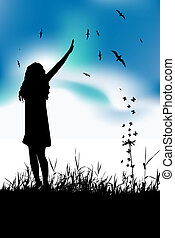 Young woman waving hand on summer meadow