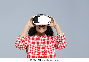 Young Woman Wear Virtual Reality Digital Glasses African...