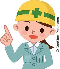 Young woman wearing a helmet - Vector illustration.